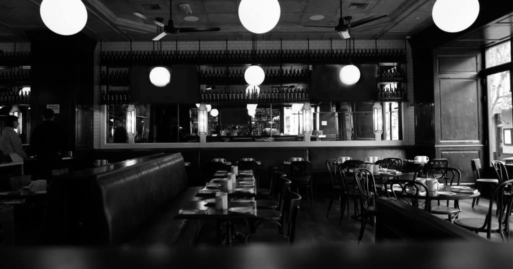 black and white picture of the dining room