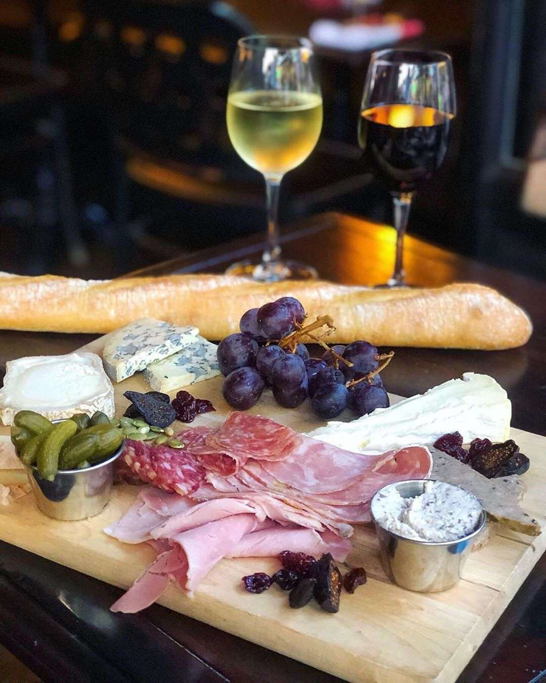Wine Charcuterie plate and grapes