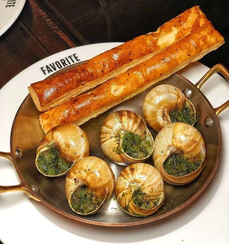 A plate of snails at the Favorite Bistro Las Vegas.